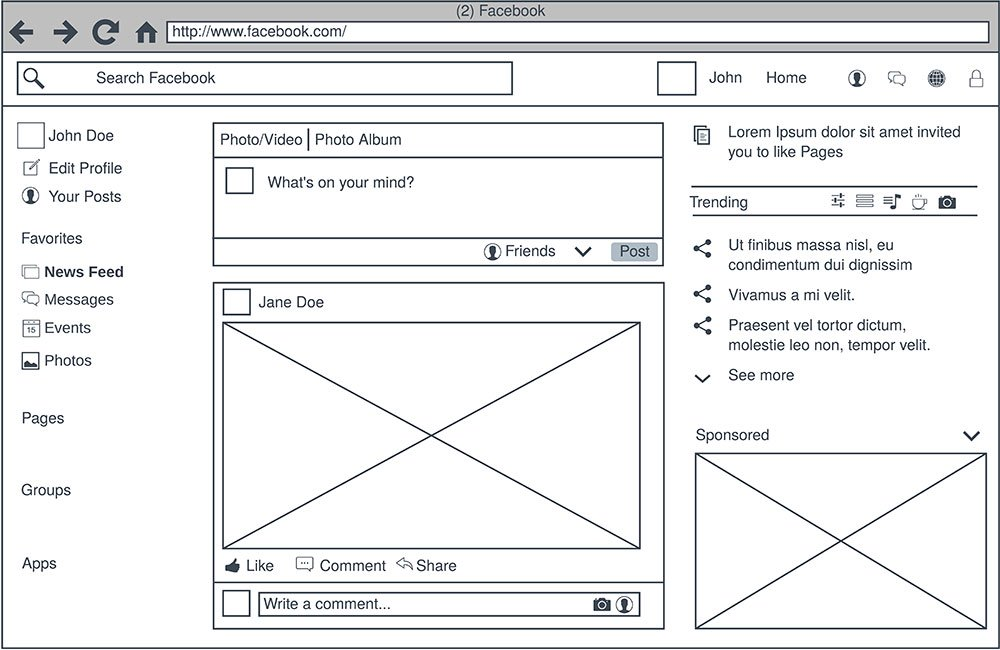 wireframe from website