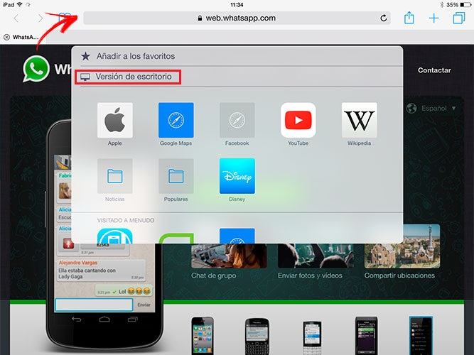 desktop version whatsapp iPad from the search bar