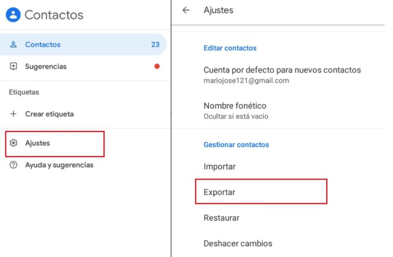 Export contacts from Google Contacts