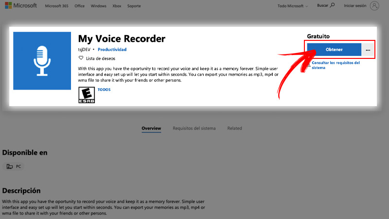 My Voice Recorder to record audios in Windows 8