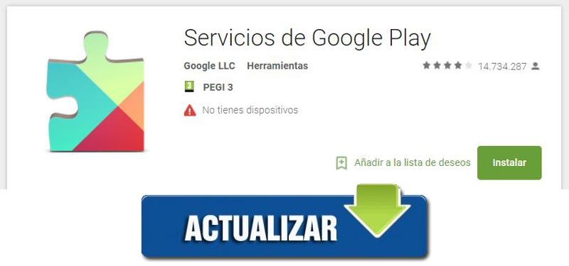 Update and download Google play services Spanish