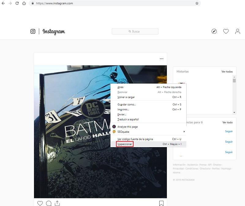 inspect code in google chrome for instagram