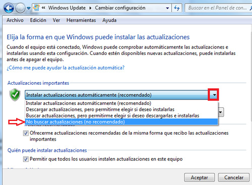 Check Don't check for updates Windows Update