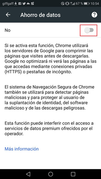 data saving Chrome Android