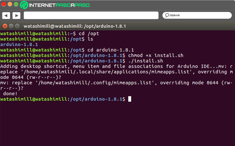 Install the Arduino IDE from the terminal