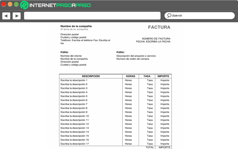 Service invoice with hours and rates