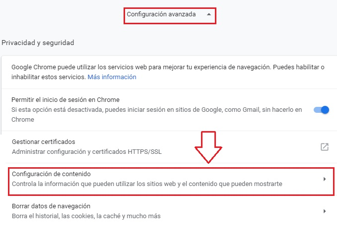 Chrome advanced settings privacy content settings