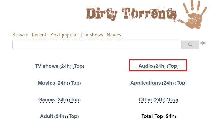 dirty torrents torrent search engine