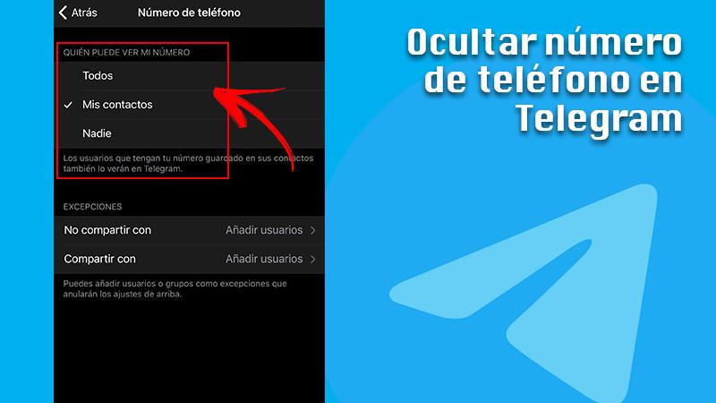 Hide phone number in Telegram