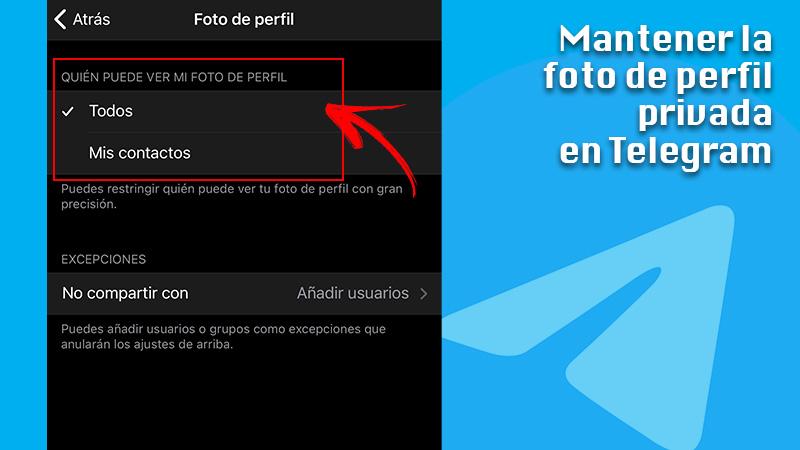Keep profile photo private on Telegram