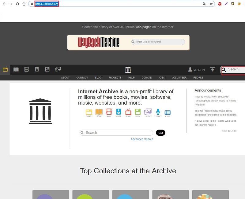 archive.org.  Web page