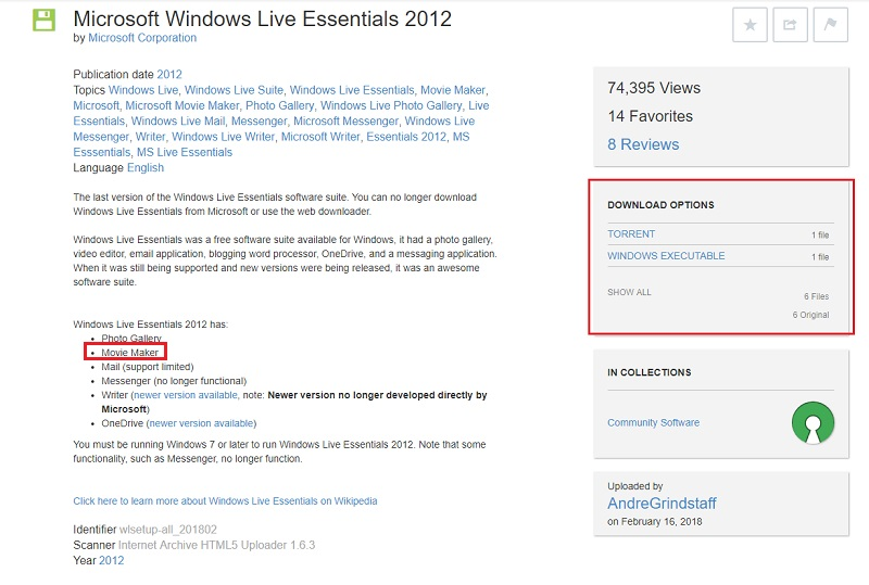 download windows movie marker from archive.org