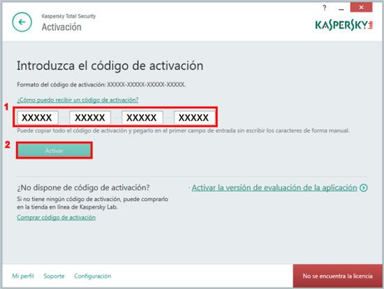 Enter the Kaspersky activation code