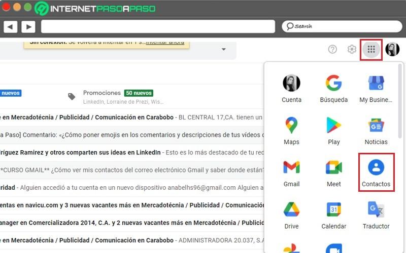 gmail contacts menu