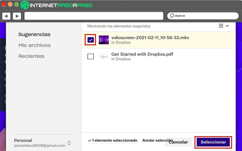 choose file to send Dropbox