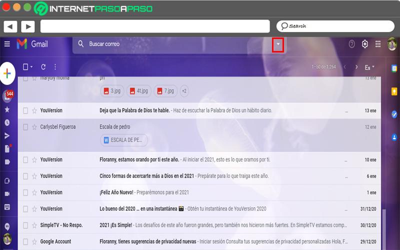 Down arrow in search box