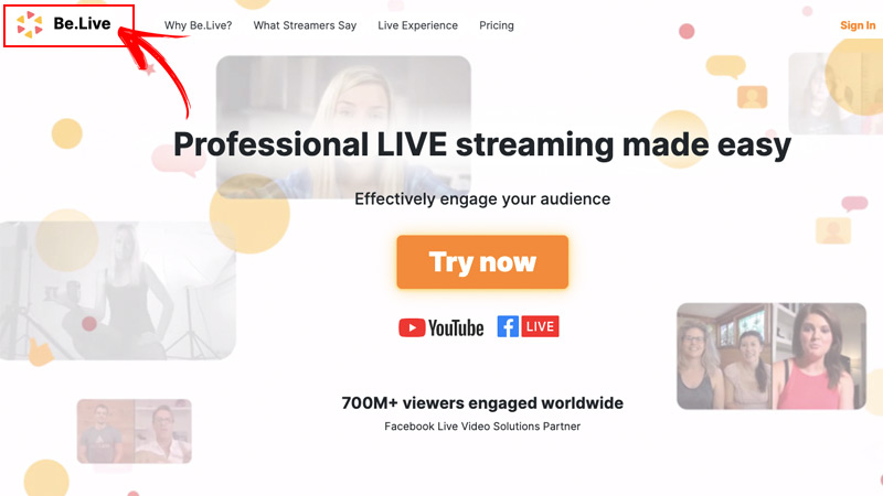 Go live with BeLive