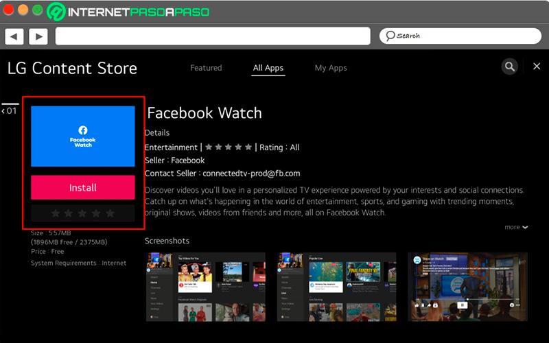 APP Facebook Watch on Smart TV