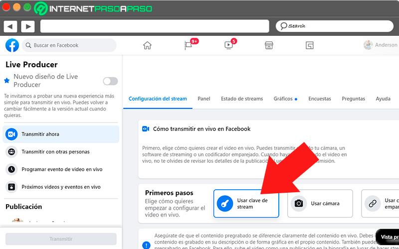 Use transmission key on Facebook Live